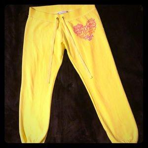 PINK! Victoria's Secret Neon Capri Sweatpants